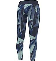 Adidas Allover Graphic Long Tights - lange Damen-Fitnesshose, Blue