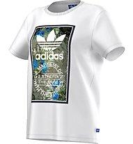 Adidas Originals T-shirt Tongue Label Boyfriend Damen T-Shirt Fitness, White