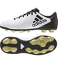 Adidas X 16.4 FxG J Kinder-Fußballschuhe für normale (kompakte) Rasenplätze, White/Black