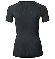 Odlo Maglia funzionale manica corta donna Evolution warm Shirt s/s crew neck, Black/Odlo Grahite Grey