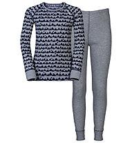 Odlo Warm Kids Shirt l/s Pants long Set Unterwäsche Komplet für Kinder, Peacoat/Grey Melange