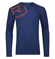 Ortovox 185 Equipment Logo Long Sleeve maglia merino a manica lunga, Strong Blue