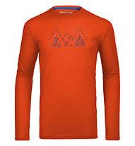 Ortovox 150 Merino Cool Ridge Print Langarmshirt, Crazy Orange