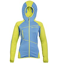 Rock Experience Lavaredo Hoodie Fleece W Giacca In Pile Donna, Light Blue/Yellow
