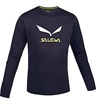 Salewa Solidlogo Shirt Langarm, Night Black