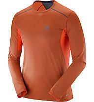 Salomon Trail Runner LS Tee M - maglia running, Orange/Blue