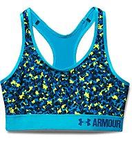 Under Armour HeatGear Printed Mid-Impact Sport-BH, Dynamo Blue