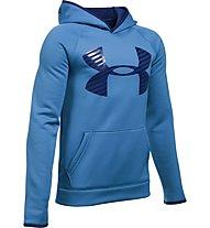 Under Armour UA Storm Armour Fleece Highlight Big Logo felpa con cappuccio fitness ragazzo, Blue